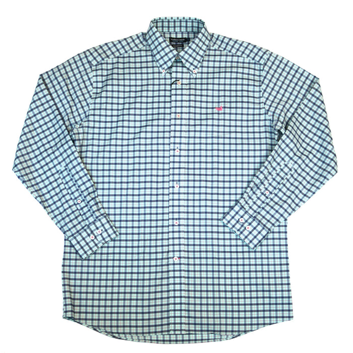 Southern Marsh Idlewild Performance Button Down- Slate/Mint