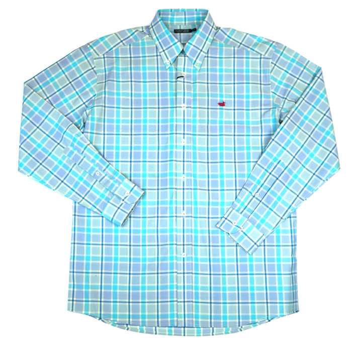 Southern Marsh Brevard Plaid Button Down- Teal/Blue