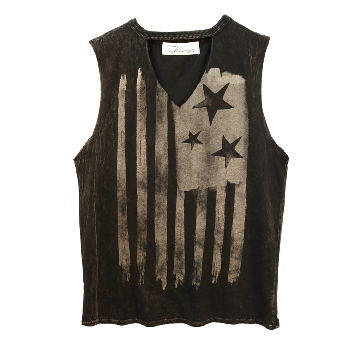 Vintage Flag Muscle Tank- Black
