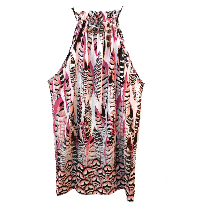 Abstract Feather Dress- Pink