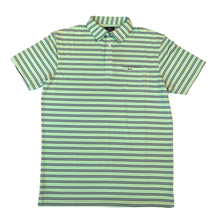 Fish Hippie Sea Bluff Striped Polo- Seagrass