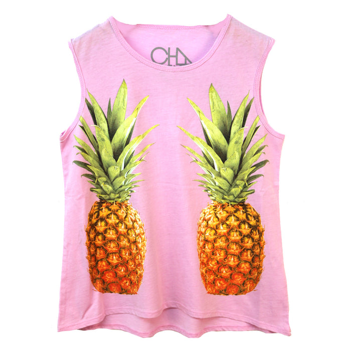 Girl's Pineapple Tank- Ballet Pink