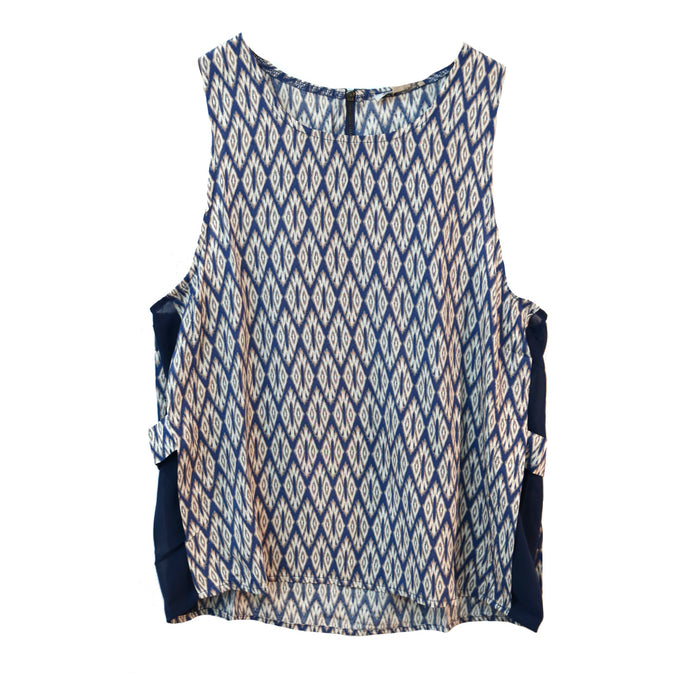 Aztec Side Panel Top- Navy