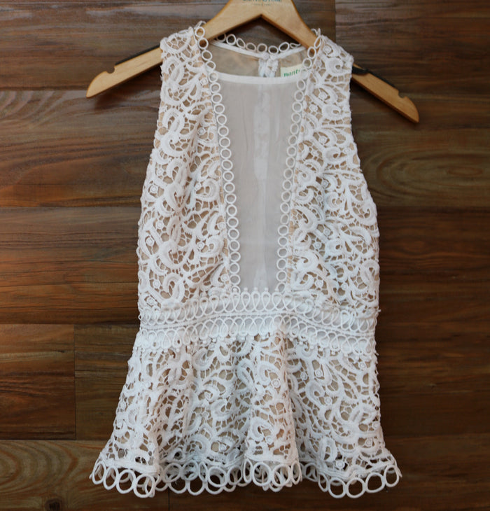 Lace Peplum Top- White