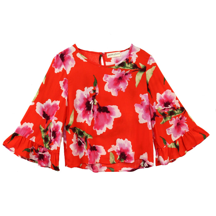 Pretty as a Flower Top- Coral