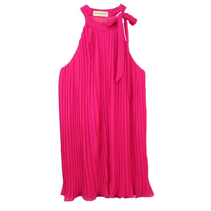 Accordion High Neck Dress- Fuchsia