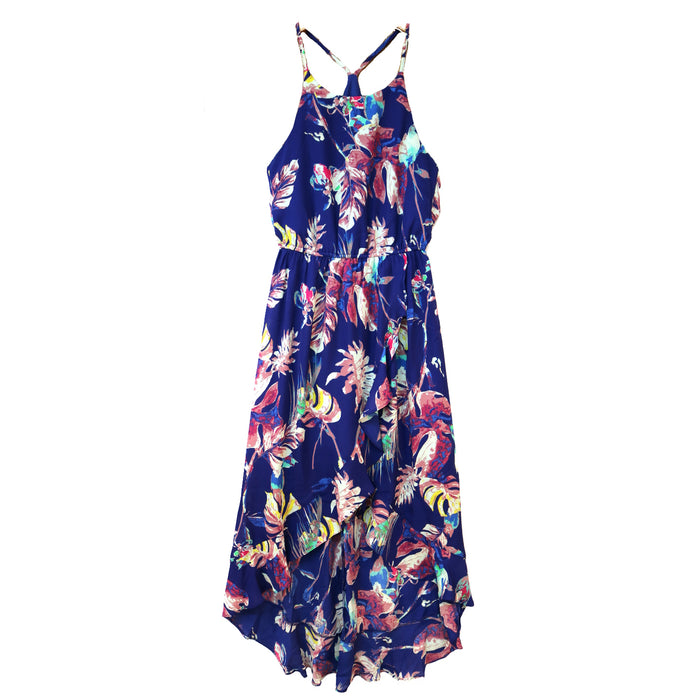 Follow the Flowers Dress- Royal Blue