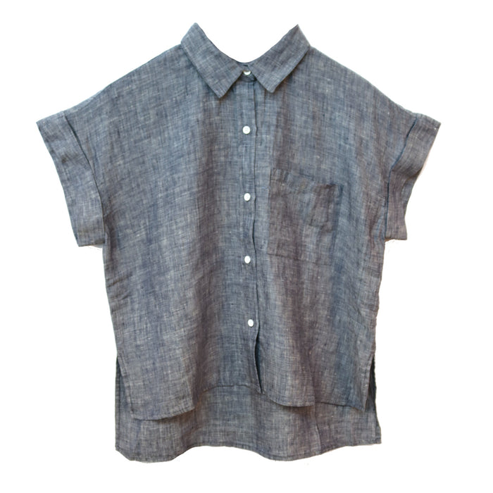 Cute as a Button Top- Chambray