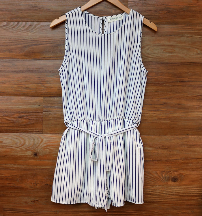 Down by the Sea Romper- Off White/ Navy