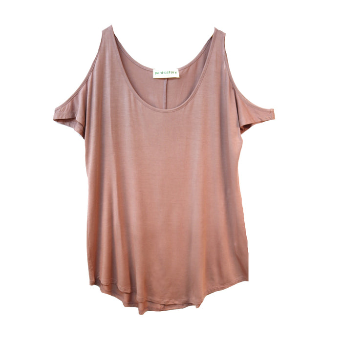 Comfy Cold Shoulder Top- Dusty Pink