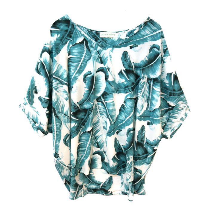 Take to the Tropics Top- Off white/Teal