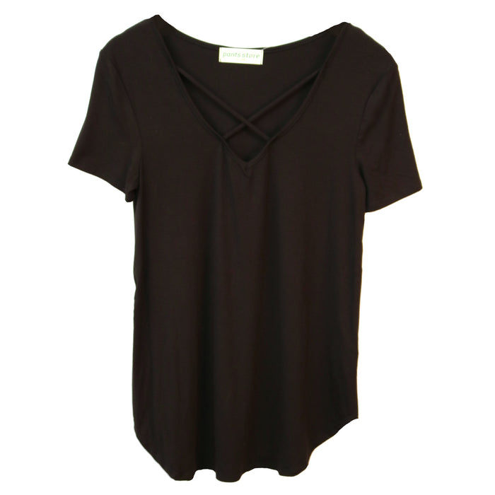 Jersey Criss Cross Tee- Black