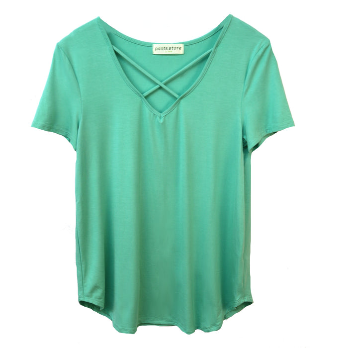 Jersey Criss Cross Tee- Mint