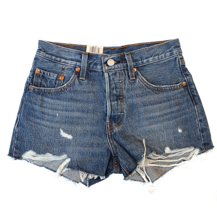 Levi 501 Distressed Shorts- Denim 0104