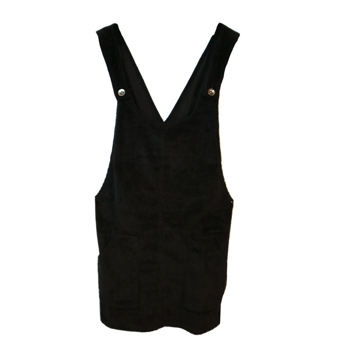 Corduroy Overall Dress- Black