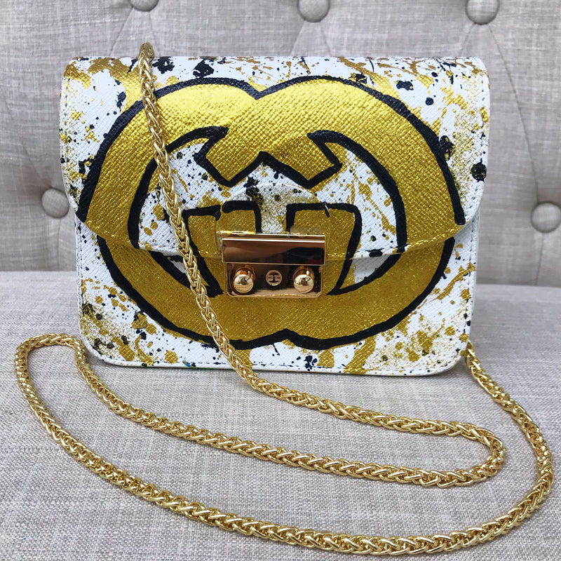 Carolina GG Crossbody- White/ Gold