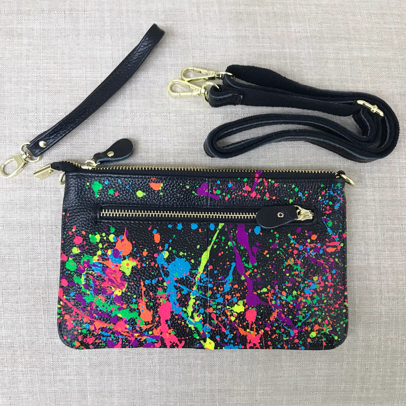 Alex Bright Crossbody/ Wristlet- Black/ Splatter