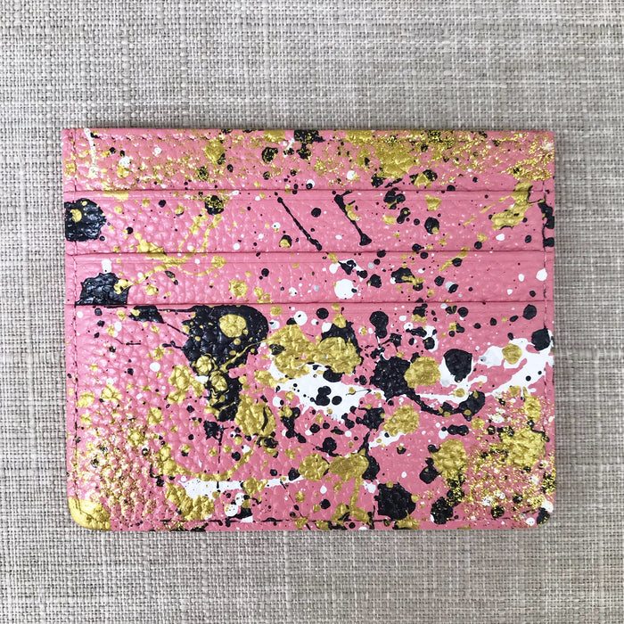 Lucky Metallic Credit Card Holder- Pink Multi
