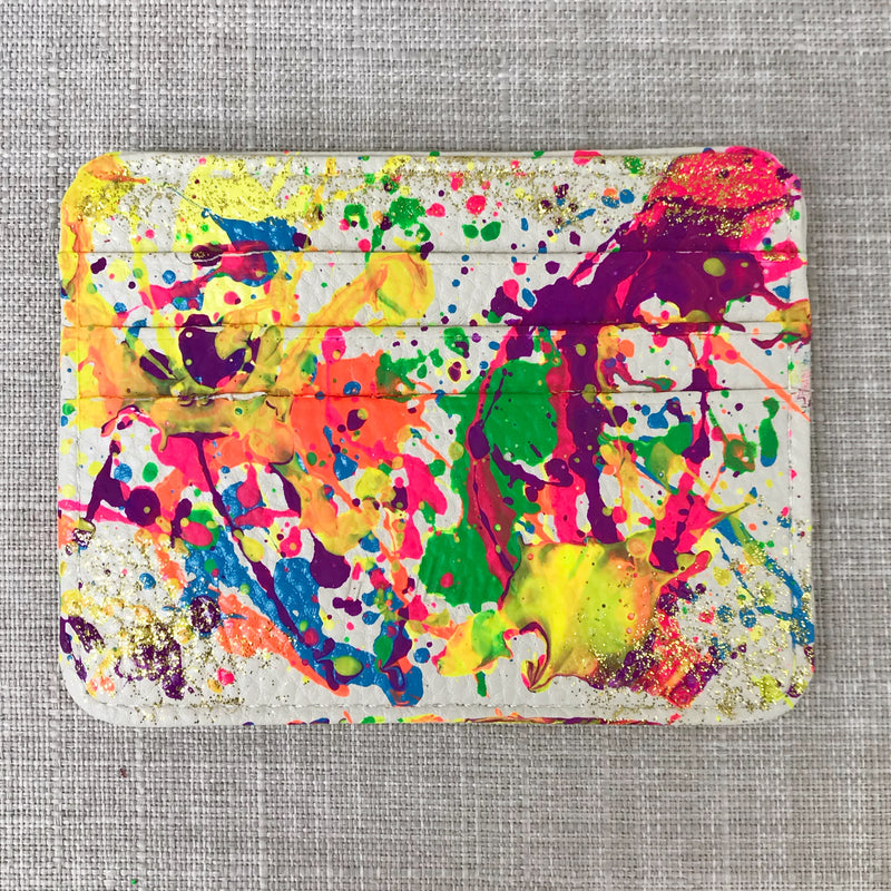 Lucky Bright Credit Card Holder- White/ Splatter