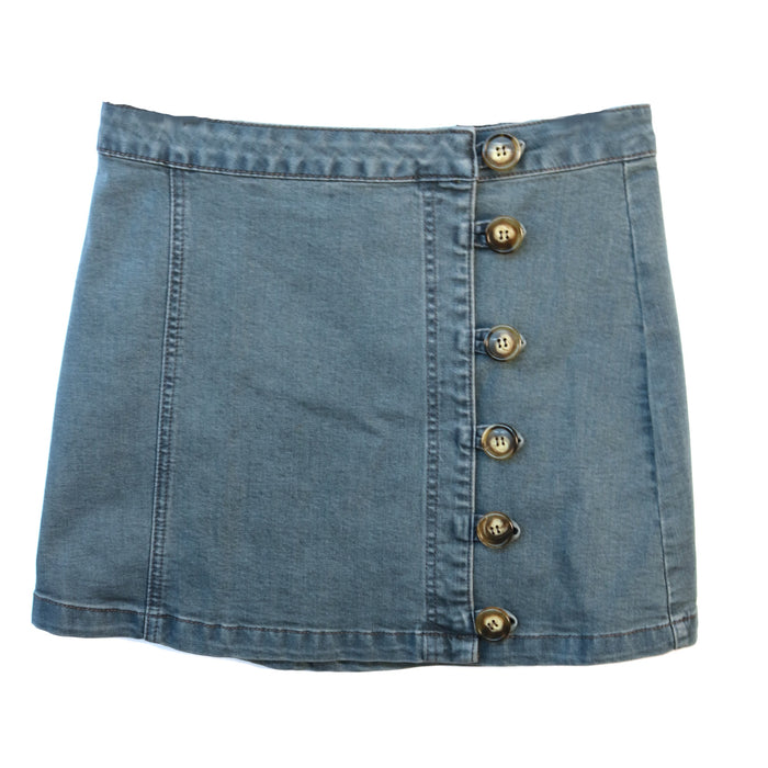 High Waisted Mini Button Skirt- Denim