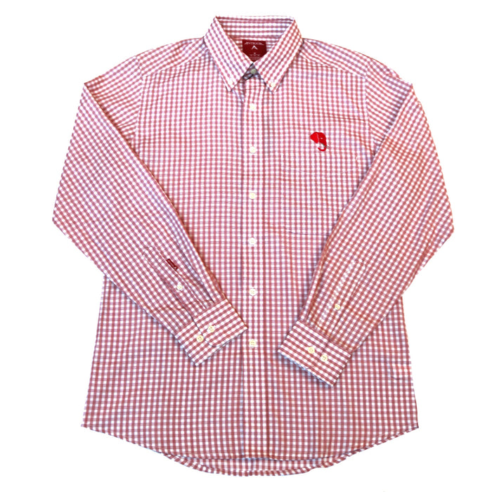 Antigua Rank Elephant Head Button Down- Cardinal/White