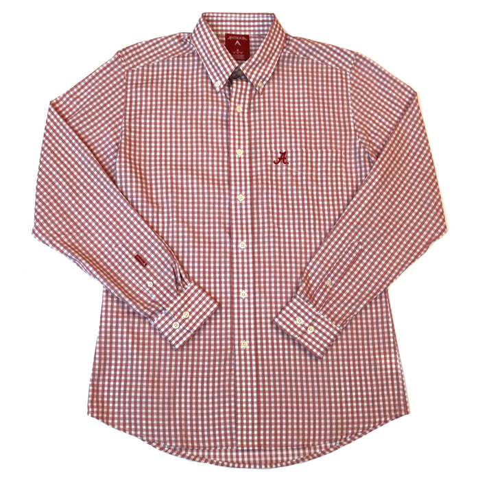Antigua Rank Alabama A Button Down- Cardinal/White