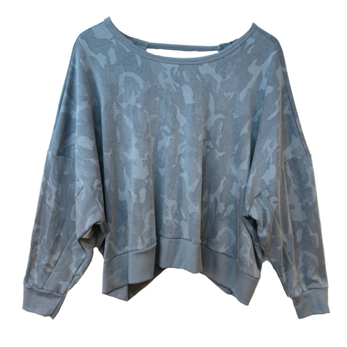 Camo Open Back Pullover - BP385-BLU
