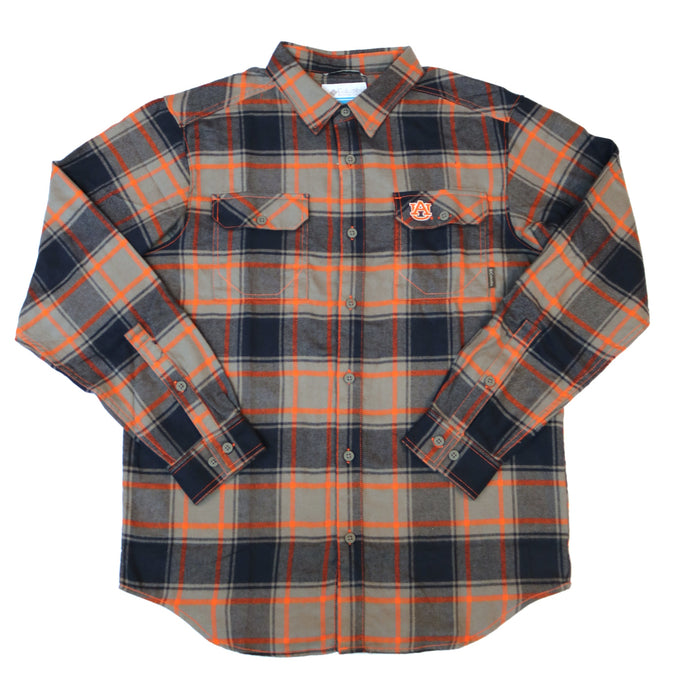 Columbia Collegiate Flare Gun L/S Flannel- Auburn Navy/ Orange