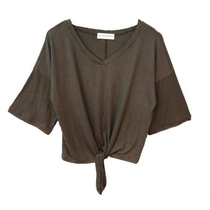 Knot for Now Top - KT10904-OLIVE