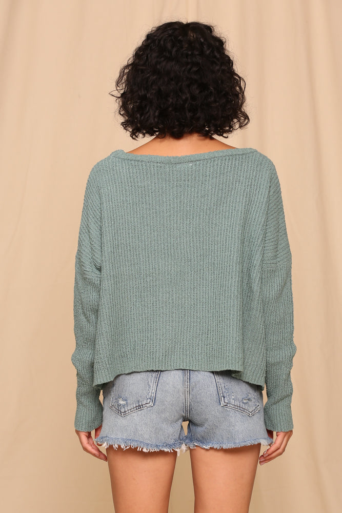 Fall Feels Sweater- Moss- L3254