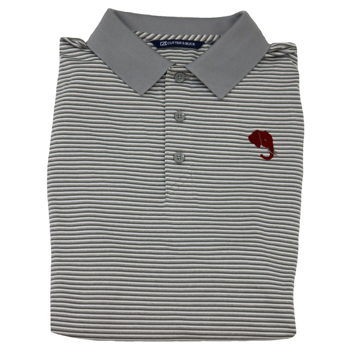 Cutter and Buck Alabama Elephant Head Logo Tonal Striped Polo- Polar Grey- MCK00113POL-EH