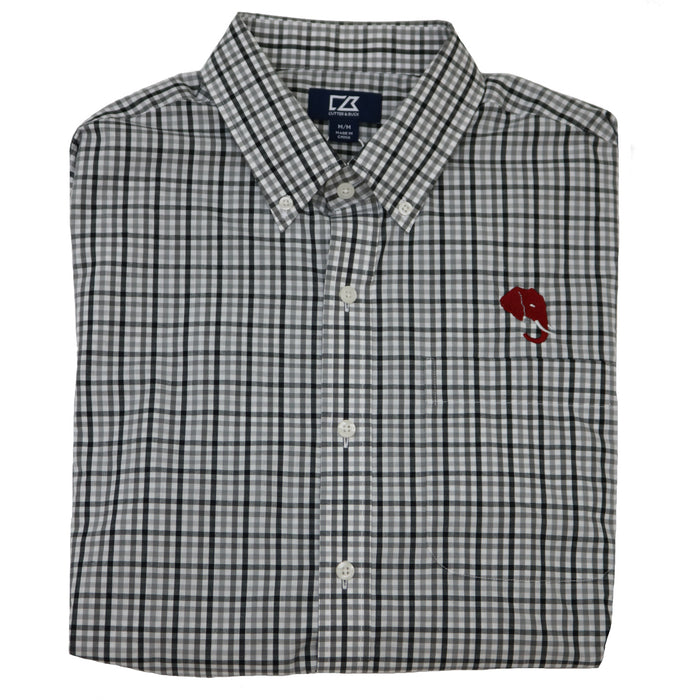 Cutter and Buck Alabama Elephant Head Logo Button Down- Plaid- MCW09580BL-EH