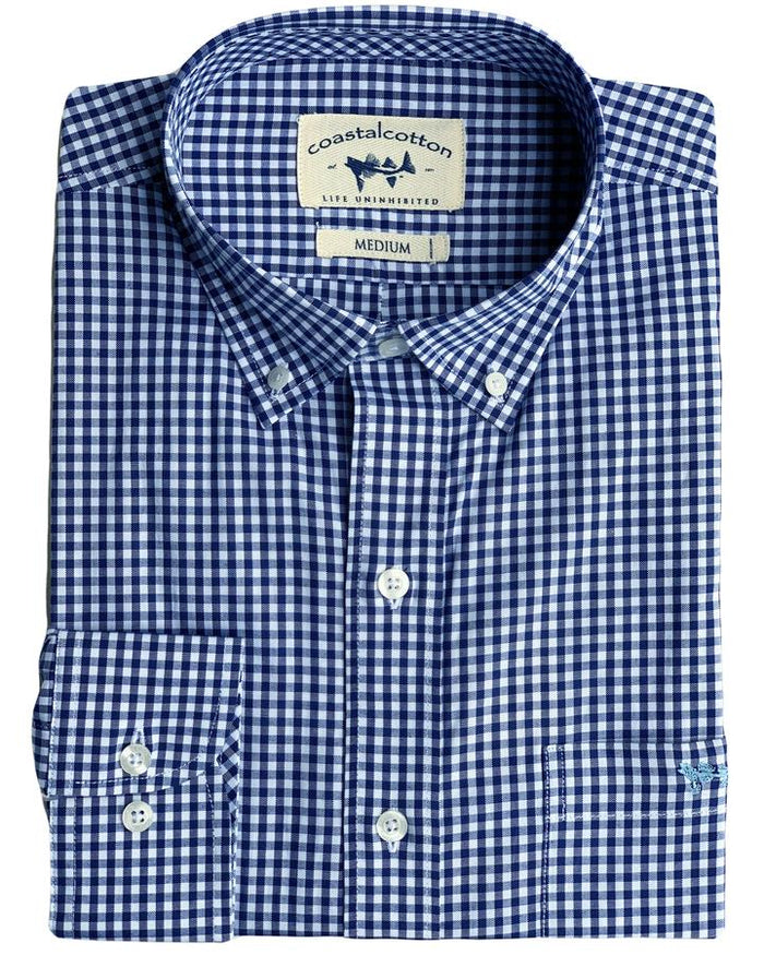 Coastal Cotton Gingham Oxford- IW-LS-SF-CL
