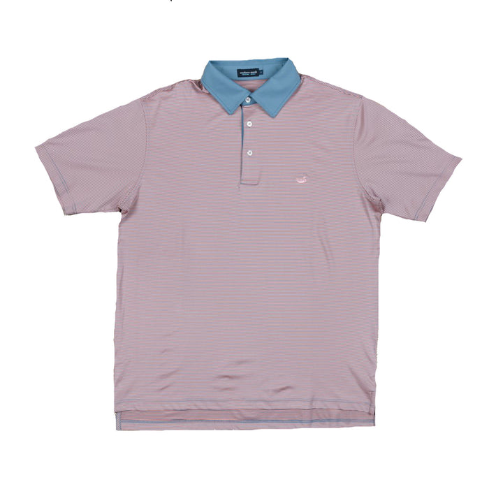 Southern Marsh Youth Bermuda Polo- French Blue/ Peach