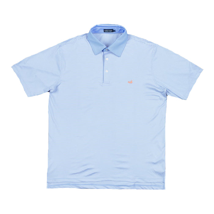 Southern Marsh Youth Bermuda Polo- Light Blue/White