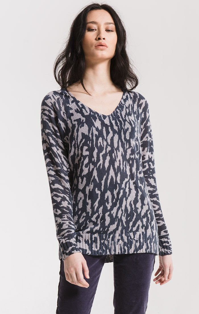 Tompkins Printed Sweater- Graphite- RW193890