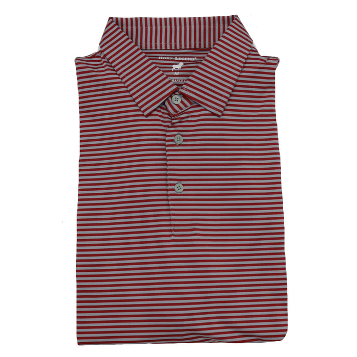 Horn Legend Stripe Polo 1030 Slate/Crimson- HL1030- SLA/CRI