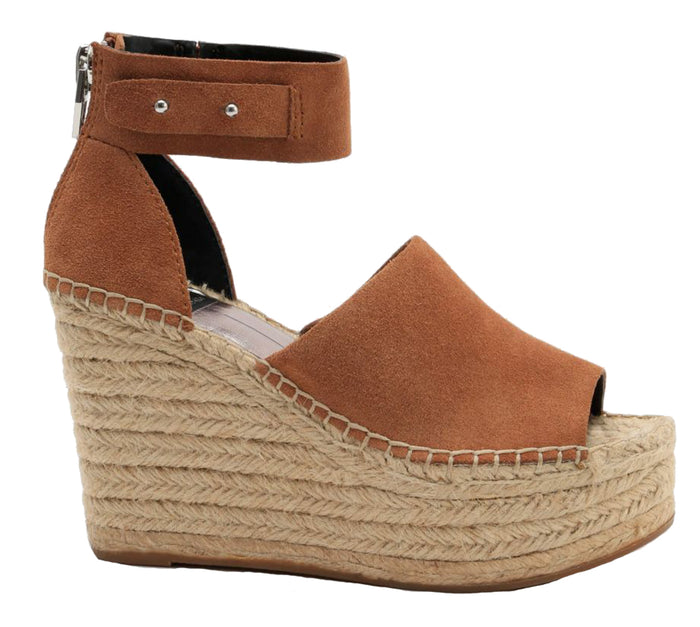 Dolce Vita Straw Wedge- Dark Saddle