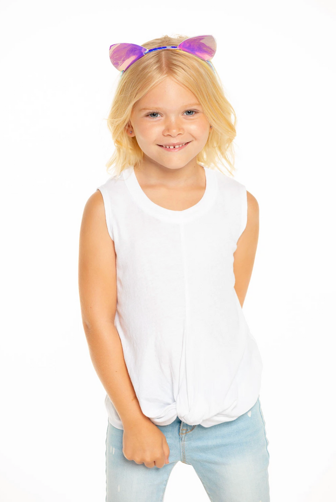 Girl's Chaser Gauzy Knot Front Tank