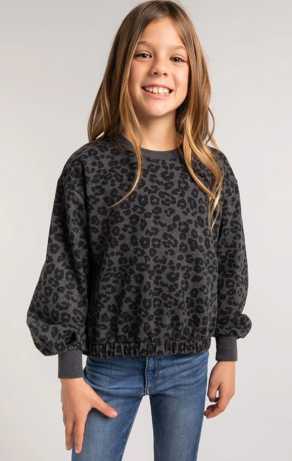 Z Supply Girls Carmen Leopard Sweatshirt