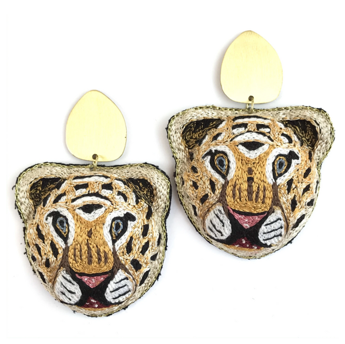 Tiger Embroidered Earrings