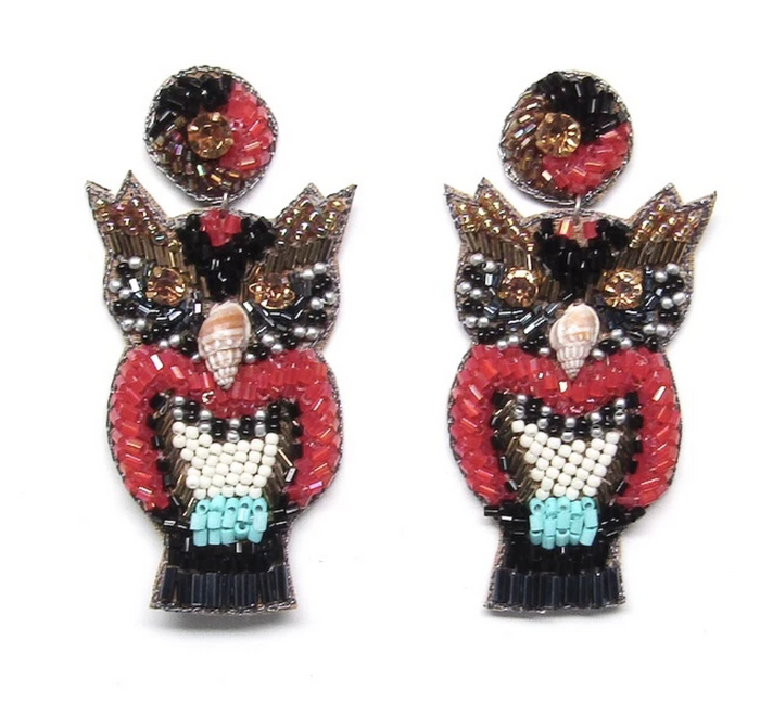 Red Owl Beaded Earrings