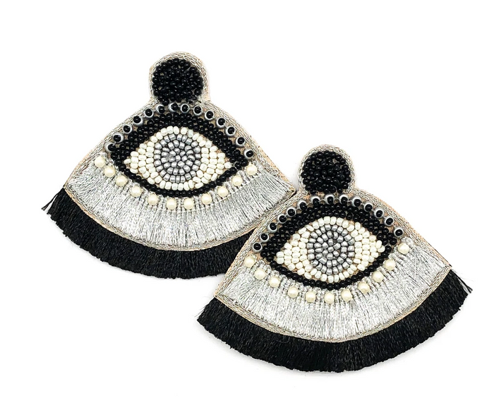 Eye Beaded Fringe Earrings