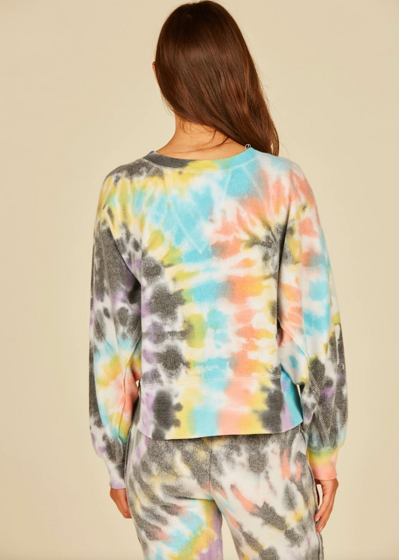 Vintage Havana Multi Swirl Burnout Fleece Crewneck