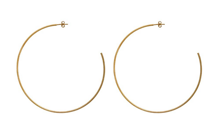 Sheila Fajl Jillian Hoop Earrings- Brushed Champagne