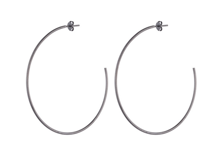 Sheila Fajl Jillian Hoop Earrings- Gunmetal