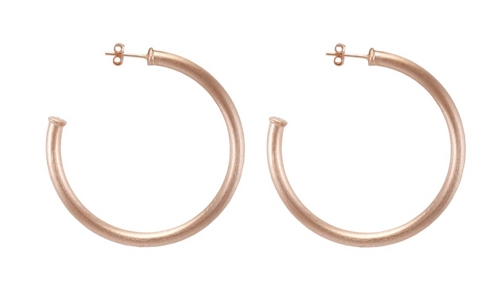 Sheila Fajl Small Everybody's Favorite Hoop Earrings- Brushed Champagne
