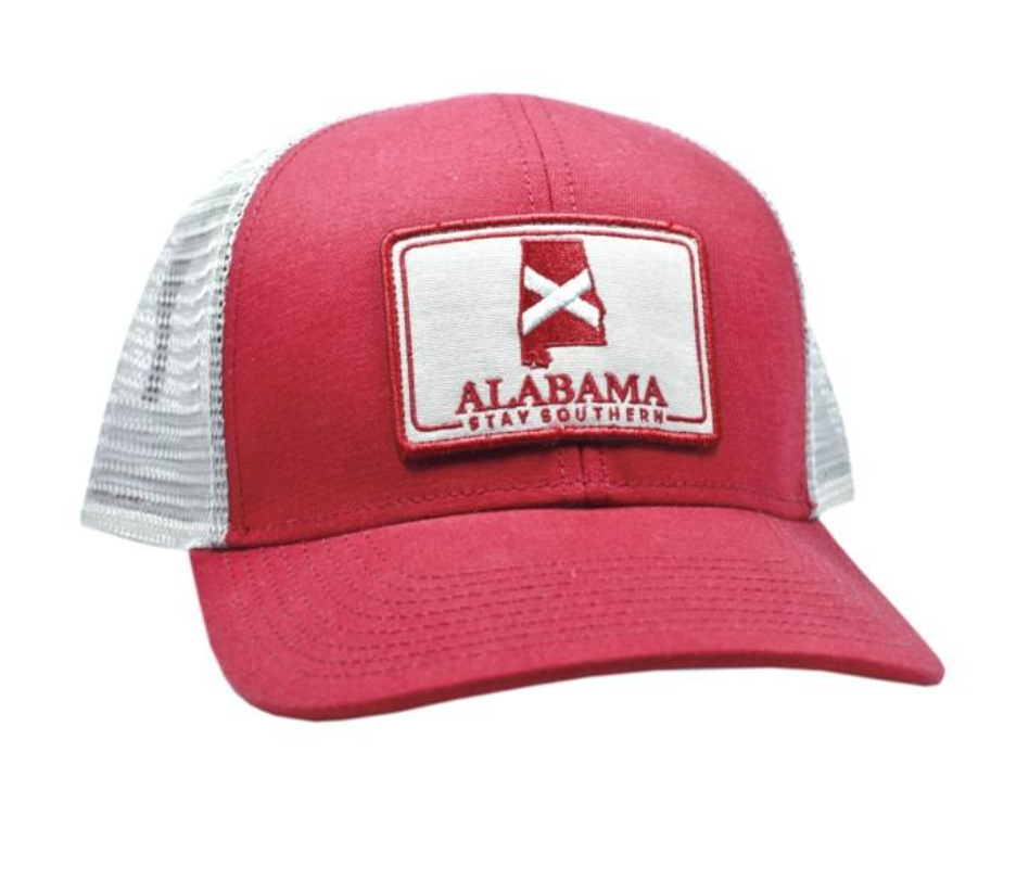 The State Company Alabama Patch Trucker Hat- Crimson – Pants Store 8734db303fb3
