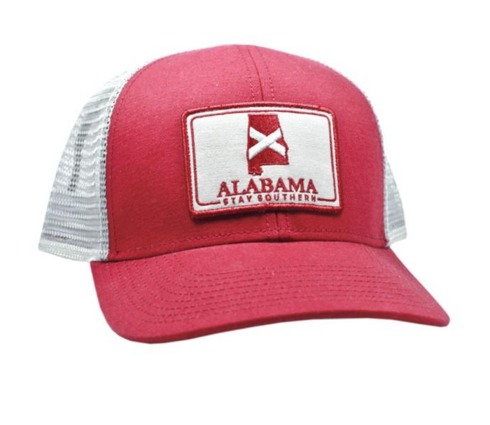 The State Company Alabama Patch Trucker Hat- Crimson