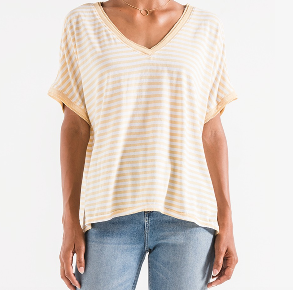 Z Supply Stripe Boyfriend V Neck Tee - ZT191685-YLC
